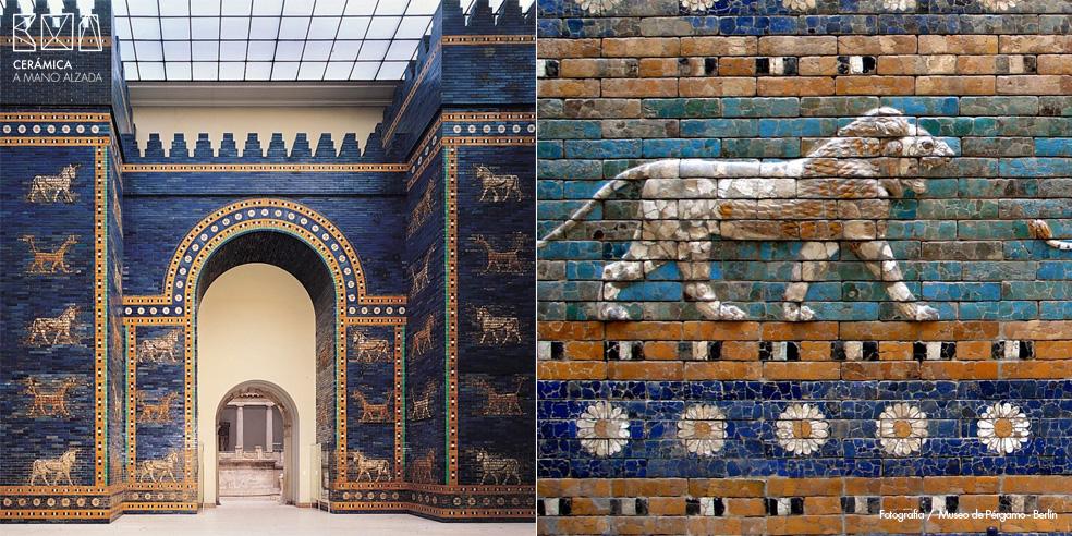 Azulejo-Puerta de Istar-ceramica a mano alzada