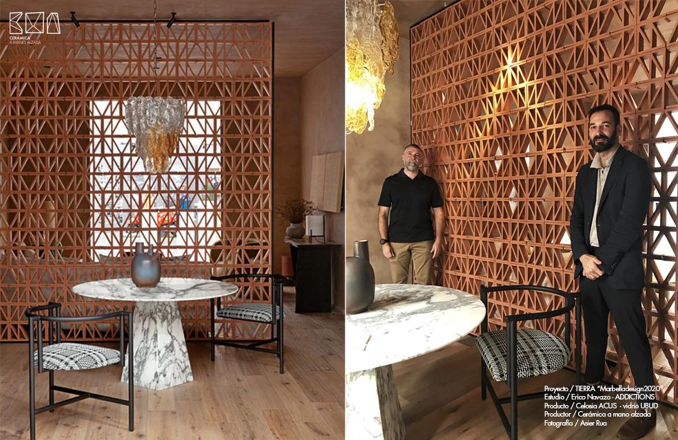 Interiorista Erico Navazo en Marbella Design week celosia ceramica Acus ceramica a Mano Alzada
