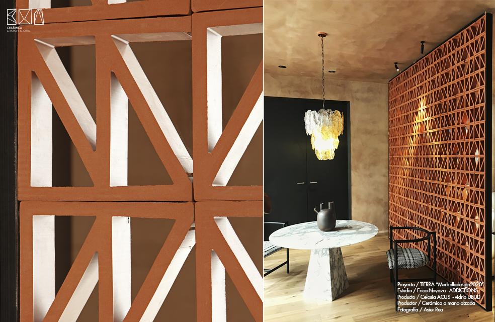 detalle celosia ceramica Acus en Marbella Design week diseño interior Erico Navazo addictions design ceramica a manos alzada