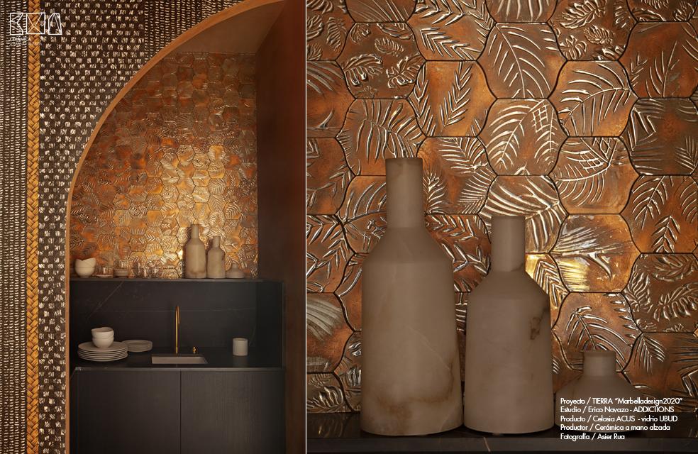 detalle vidrio decorativo artesanal marron UBUD Marbella Design week Erico Navazo y Ceramica a Mano Alazada