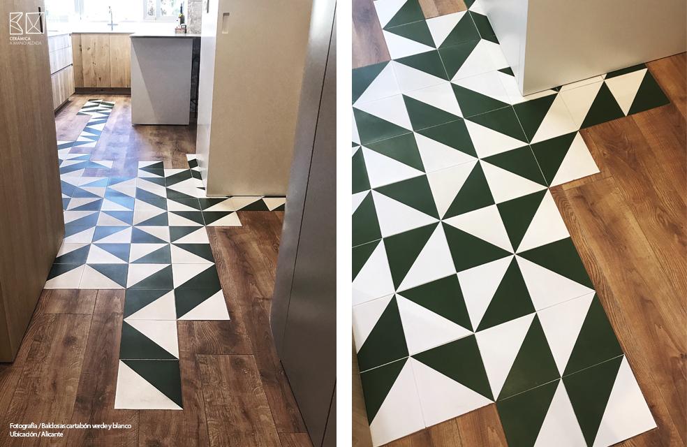 baldosa cartabon verde y blanca pavimento cocina ceramica a mano alzada