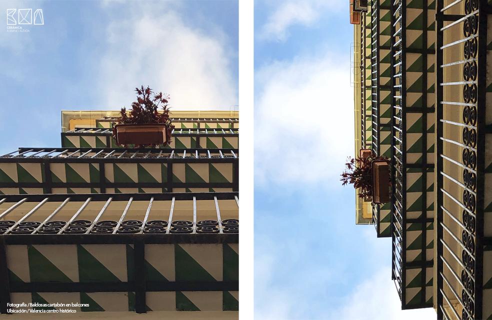 baldosa cartabon verde y blanco _ balcones valencia_ ceramica a mano alzada