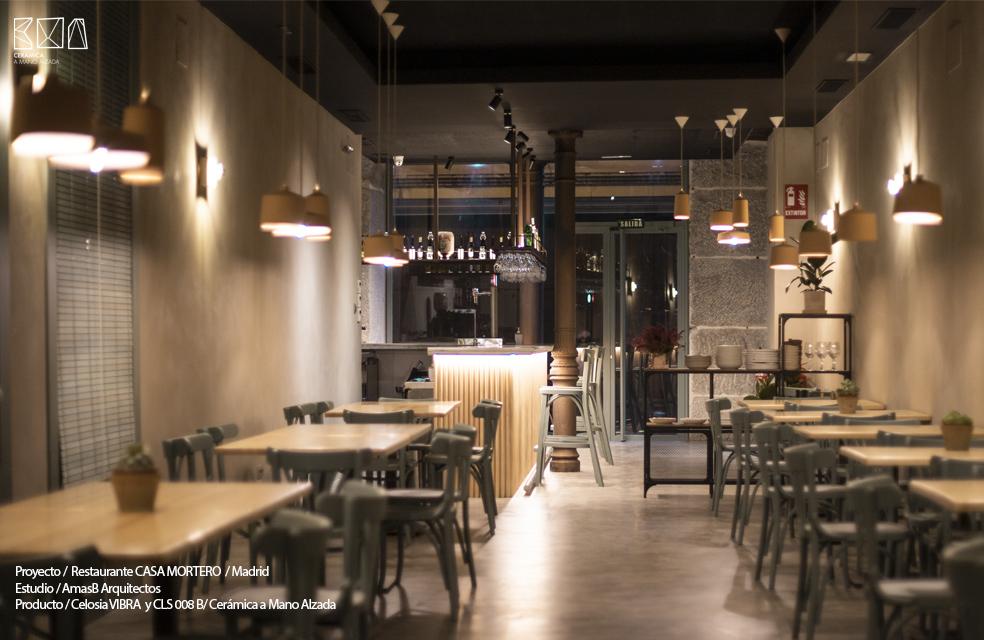 celosia cerámica vibra restaurante casa mortero madrid sala ceramica a mano alzada