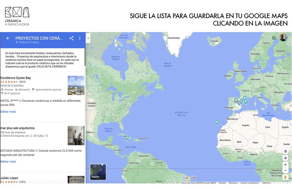 lista de proyectos de arquitectura e interiorismo con ceramica a mano alzada en google maps