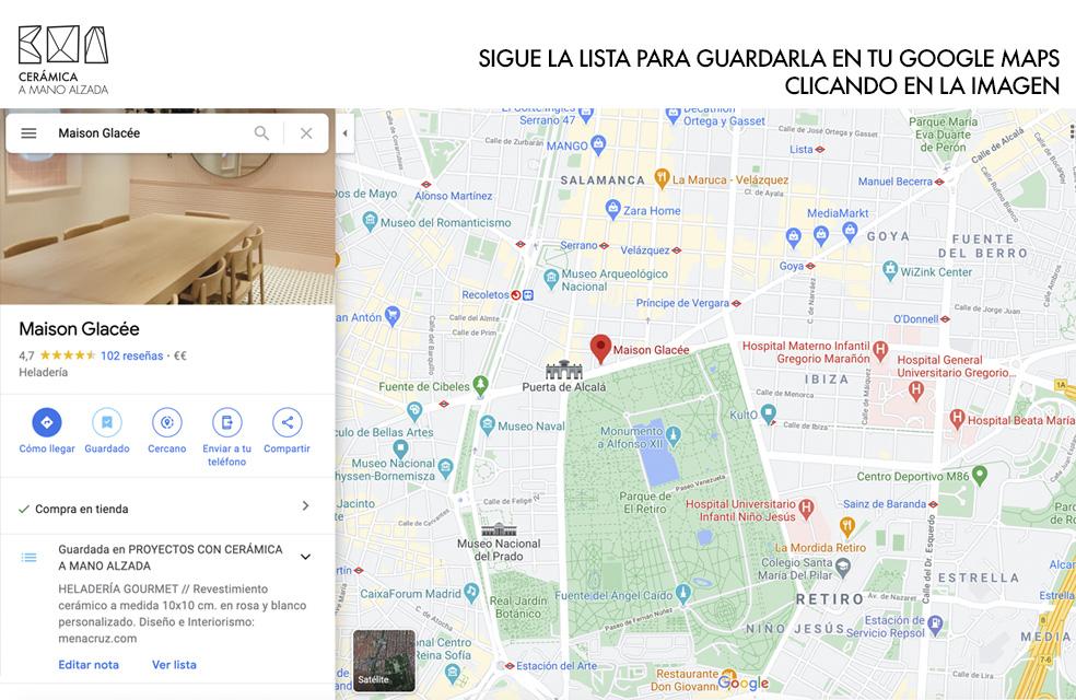 ubicación Maison Glacee madrid en la lista de proyectos de arquitectura con ceramica a mano alzada en google maps