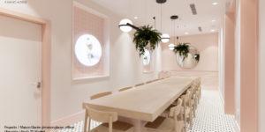 ceramica a medida rosa para heladería Maison Glacee Madrid Moulin Chocolat vista general interior ceramica a mano alzada